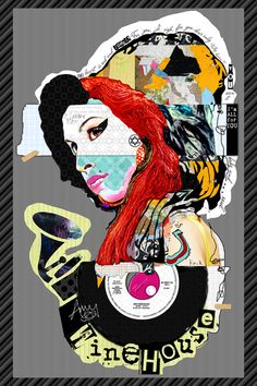 Winehouse Tribute Art Collage Amy Fly Me To The Moon by Michel Keck Mini Art Print by michelkeck - Without Stand - x Amy Winehouse Music, Paper Collage Art, Collage Illustration, Mixed Media Artwork, Canvas Art Prints, Pop Art, Poster Prints, Rock Posters, Music Posters