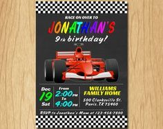 Personalized FORMULA ONE Invitation Printable Race Birthday Invitation Race Birthday Invitation Daytona Birthday Printable by DigitalBonanza on Etsy Birthday Invitations Kids, Printable Invitations, Printables, Candy Bar Wrappers, Cupcake Party, 9th Birthday, For Your Party, Bottle Labels, Formula One