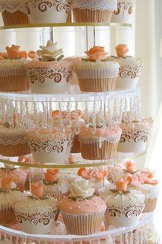 Peach, White Cupcakes