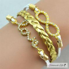 Armband Infinity LOVE Strass gold weiß im Organza Beutel Armband Infinity, Bracelets, Gold, Jewelry, Woman, Style, Fashion, Baby Blue, Sachets