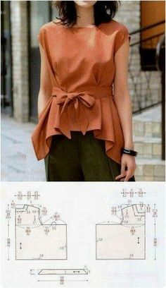 Sewing Blusas make it a bit longer, and in a fabric that drapes (rayon) - Sewing Dress, Sewing Pants, Blouse Patterns, Clothing Patterns, Blouse Designs, Japanese Sewing Patterns, Easy Sewing Patterns, Sewing Tutorials, Make Your Own Clothes