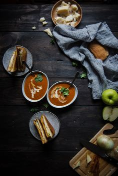 Tomato Bisque & Apple-Bacon Grilled Cheese | Two Red Bowls