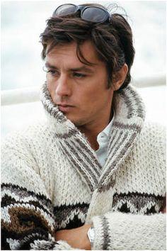 Alain Delon rocking sweaters like a beast.