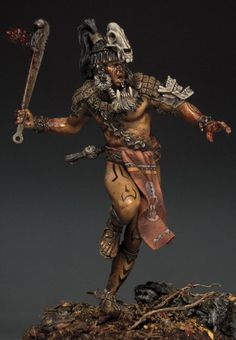 Miniatures painted by Sergey Popovichenko Ancient Aliens, Ancient Art, Guerrero Tribal, Arte Sci Fi, Tribal Warrior, Viking Warrior, Aztec Culture, Inka, British Museum
