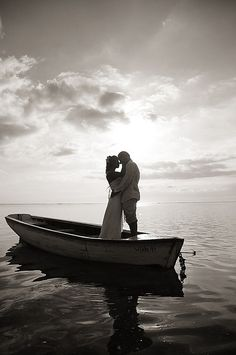 Bridal couple out to sea