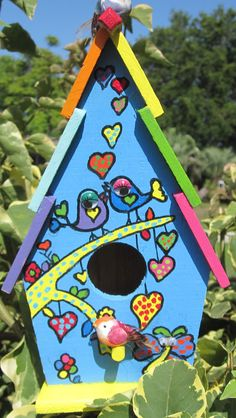 Unique Colorful Handpainted Bird House by Crazybirdhouses on Etsy, $30.00