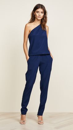 Ramy Brook Lulu One Shoulder Jumpsuit Blue Jumpsuits, Jumpsuits For Women, Pretty Outfits, Cute Outfits, Look Office, One Shoulder Jumpsuit, Business Outfits, Mode Style, Passion For Fashion