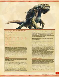 Monster Hunter World: Jagras and Rathian D&D Monster Stats The first updates to my old Monster Hunter pages. Jagras (Great Jagras) and Rathian, somewhat tweaked and now with art! Dungeons And Dragons 5e, Dnd Dragons, Dungeons And Dragons Homebrew, Cool Monsters, Dnd Monsters, Monster Hunter World Wallpaper, Monster Hunter Memes, Hunter Page, Dnd Stats