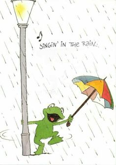 Happy Birthday Frog, Happy Birthday Wishes, Birthday Greetings, Funny Frogs, Cute Frogs, Rainy Day Quotes, I Love Rain, Frog Pictures, Umbrella Art