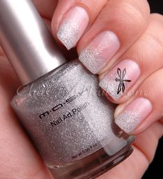 silver and white nail designs | The star feature of this manicure is MASH Silver Nail Art Polish ...