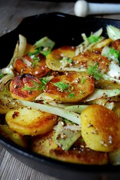 CRISPY PAN-ROASTED FENNEL POTATOES ~~~ when you go to read the recipe, please do not blow off reading the script shared... the paragraph sharing how to cook this incredible dish reads like food lover poetry. [eatinmykitchen]