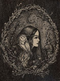 This is a high quality 8x10 PRINT with a small white border  about this piece: Hecate is known for her connection to the moon and wild places,