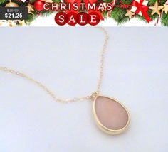Peach Necklace Pink Necklace Gold Filled Chain by Crystalshadow