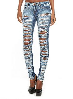 Distressed Acid Wash Jeans With Bottom-Reaching Holes