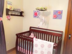 "Crib corner! The artwork, mobile, bed skirt, and ""HOPE"" sign are all DIY!"