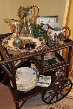 Spode Woodland on vintage tea cart. Spode Woodland is my FAVORITE china pattern! Tea Trolley, Tea Cart, Spode Woodland, Tea Service, Vintage Tea, High Tea, Afternoon Tea, Tea Time, Tea Pots