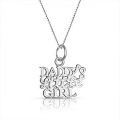 Daddys Little Girl Daughter Charm Necklace 925 Silver 16in