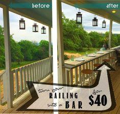 """Turn your railing into a """"Eat-Up"""" bar - Rhyne Farm Porch Bar, Deck Bar, Patio Bar, Backyard Patio, Deck With Bar, Front Porch, Patio Deck Designs, Patio Design, Patio Railing"""