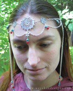 faerie head dress | Star Faerie Circlet - Turquoise, Red Coral and Silver Headdress ...