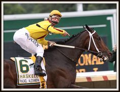 Calvin gives credit where credit is due...to magnificent partner in the Haskell...RACHEL ALEXANDRA!