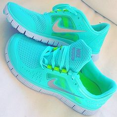 glowing aqua tennis shoes - neon