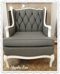 fabric painted chair after