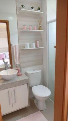 Banheiros Modernos: 55 Fotos e Inspirações para o Ambiente 2020 Small Bathroom Storage, Bathroom Design Small, Bathroom Colors, Bathroom Shelves, Small Bathroom Cabinets, Bathroom Sinks, Bathroom Wall, Kitchen Sink, Master Bathroom
