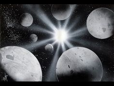 How to Spray Paint Art Planets Black and White - Tutorial White Spray Paint, Spray Paint Art, Nature Paintings, Landscape Paintings, Easy Paintings For Beginners, Planet Colors, Black And White Painting, Black White, Space Painting