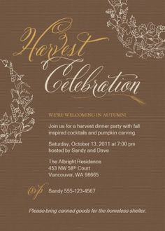 Customize Fall Harvest Party Invitation