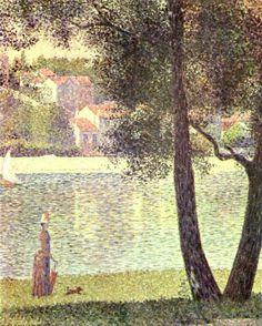 Georges Seurat.  Die Seine bei Courbevoie. 1885, Öl auf Leinwand, 81 × 65 cm. Paris, Sammlung Cachin-Signac. Pointillismus, Landschaftsmalerei. Frankreich. Neo-Impressionismus.  KO 02083