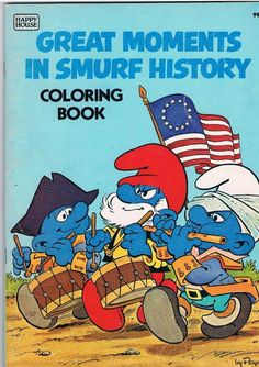 """1982 Smurfs Coloring Book Unused """" Great Moments in Smurf History """" in Collectibles, Animation Art & Characters, Animation Characters 