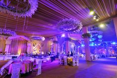 Are you looking for wedding decor in some traditional shades? Here is a beautiful yellow wedding decor with a touch of magenta pink elements! Purple Wedding Decorations, Stage Decorations, Yellow Purple Wedding, Purple Wisteria, Floral Chandelier, Black Vase, Pink Garden, Orange Background, New Theme