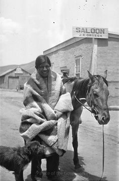 """pogphotoarchives: """"Pueblo man with horse and dog, New Mexico Photographer: Lois Arisno McNeil Date: 1923 - 1924? Negative Number HP.2012.19.2 """""""