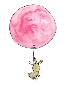 Bunny Balloon  Wall Decal by trafalgarssquare on Etsy, $60.00. LOVE this one :)