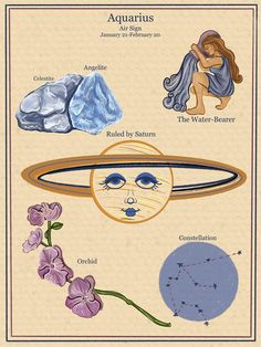 Astrology Aquarius, Zodiac Signs Astrology, Zodiac Signs Aquarius, Zodiac Art, Art Zodiaque, Aquarius Aesthetic, Photocollage, Illustration, Poster Prints