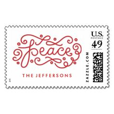 Peace Lettering Christmas Personalized Postage Stamps in red and white Custom Postage Stamps, Self Inking Stamps, Address Labels, Stationery, Peace, Lettering, Board, Red, Christmas