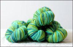 Shamrockin in Vesper Sockyarn  100% SW Merino.  OOOOh, I want this for socks.