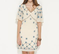 Temperley London Cream, Sky Blue, Brown, And Multicolor Dress