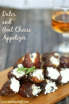 Dates and goat cheese appetizer recipe real advice gal кейтеринг, No Cook Appetizers, Appetizer Recipes, Goat Cheese Appetizers, Party Appetizers, Snack Recipes, Tapas, Goat Cheese Recipes, Clean Eating Snacks, Healthy Eating