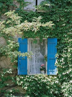 European picture of window with blue shutters and lace in Provence, France by Dennis Barloga | Photos of Europe: Fine Art Photographs by Dennis Barloga