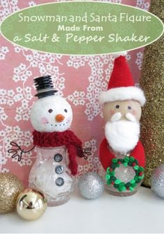 How to Make a Snowman and Santa Figure from Recycled Salt and Pepper Shakers