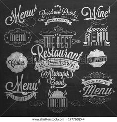 Illustration of Vintage Typographical Element for Menu On Chalkboard