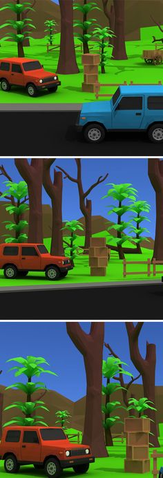 Jungle Way Low Poly Model. Low Poly 3d Models, 3d Design, Vr, Jeep, Vehicle, Environment, Animation, Cartoon, Games