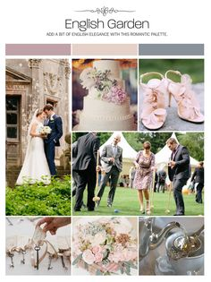 English garden wedding inspiration board, color palette, mood board via Weddings Illustrated