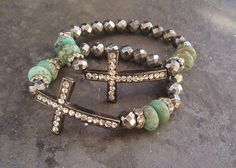 SALE Sideways cross stretch bracelet 'Heavens Light' by slashKnots, $67.00