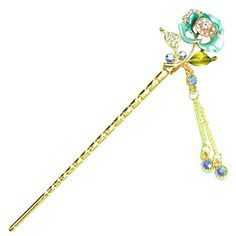 YOY Fashion Hair Decor Chinese Traditional Style Hair Sticks Shawl Pins  Picks Pics Forks for Women Girls Hair Accessory with Enamel Flower Set of  Green ... 272a101eea3a