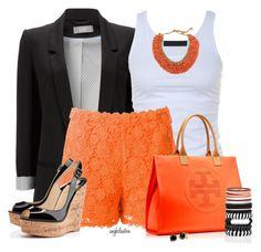 """""""Orange and Black for Summer"""" by angkclaxton ❤ liked on Polyvore featuring Wallis, Tusnelda Bloch, Valentino, Tory Burch, Christian Louboutin, River Island, Coach, Pannee, women's clothing and women"""