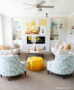5 Ways to Get this Look:  Aqua and Yellow Living Room