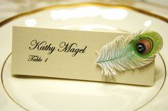 Ivory Wedding table name cards with Peacock Feather and rhinestone