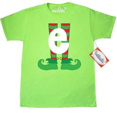 0832c551dd3 Inktastic Christmas Elf Feet Letter E Monogram T-Shirt Red And Green Holiday  Cute Kids Elves Name Alphabet Santa Initial Monogrammed Hat Mens Adult  Clothing ...